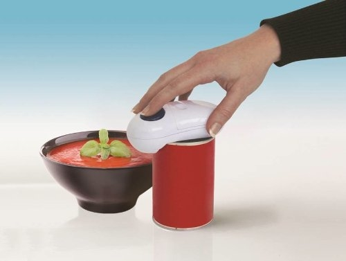 One touch battery tin opener